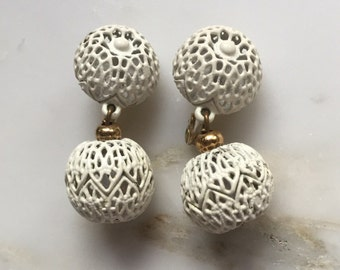 Vintage white enameled Monet earrings