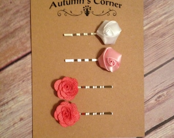 Small rosettes and coral flower hair clips