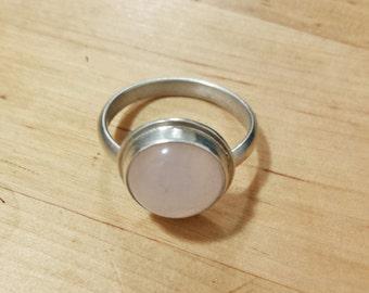 Round Rose Quartz Bezel Set in Simple Sterling Silver Ring