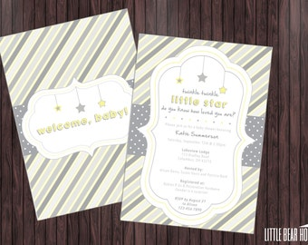 Printable Twinkle Twinkle Little Star Themed Baby Shower Invitation