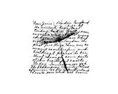 EZ Mounted Rubber Stamp Flower Dandelion Background Writing Altered Art Craft Scrapbooking Cardmaking Collage Supply.