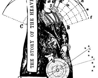 EZ Mounted Rubber Stamp 1600s Science Astro Andromeda Woman Collage Altered Art Craft Scrapbooking Cardmaking Supply.