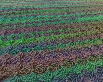 Blue Green Purple Striped Baby Blanket