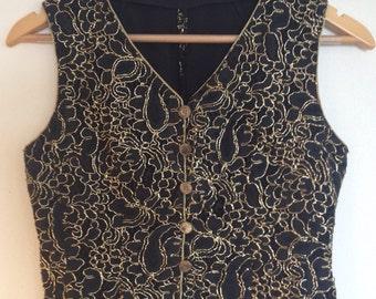 Vintage Black & Gold Ladies Waistcoat Size AU12