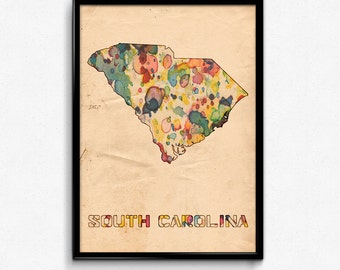 South Carolina Map Poster Watercolor Print - Fine Art Digital Painting, Multiple Sizes - 12x18 to 24x36 - Vintage Paper Colors Style