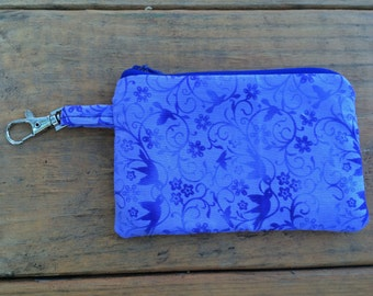 Purple Birds, Flowers, and Vines change purse / wallet with keychain clip