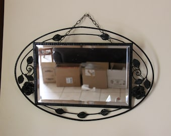 Antique french mirror Art deco beveled mirror and decorated with flowers and leaves in the taste of Brandt - 1930 s/illuminati10