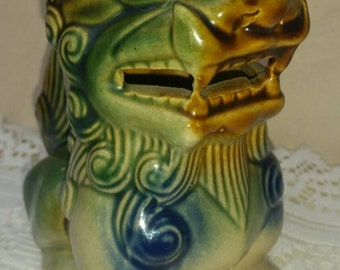 Chinese Foo Dog Dragon Shi Shi Lion Clay Pottery Vintage Retro Collectable