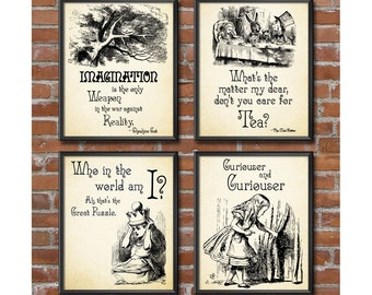 Alice in Wonderland Decorations - Mad Hatters Tea Party, Alice in Wonderland Wall Art Set of 4 Mad Hatter Quotes Wonderland Decor 0282