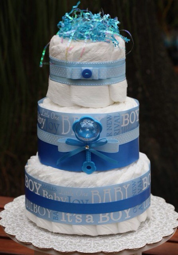 Items similar to Blue It s a Boy Diaper Cake Rattle ...