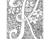 instant digital download - adult coloring page - letter K