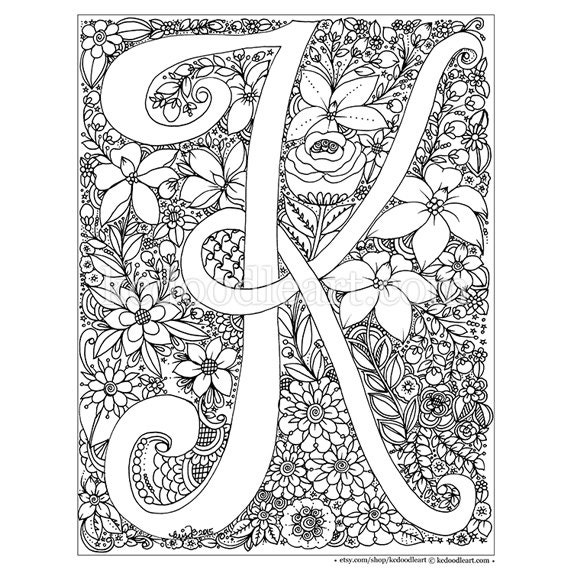 Instant digital download adult coloring page letter k for The letter k coloring pages