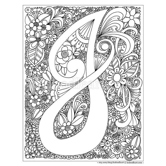 Instant Digital Download Adult coloring page letter J