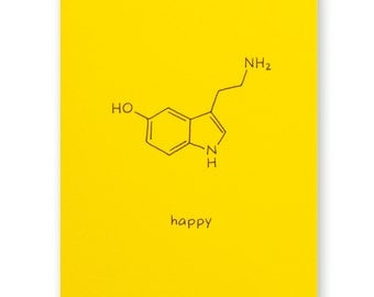 Science Nerd Birthday Card - Happy Serotonin Card - Chemistry Card - Geek Card - Any Occasion Card