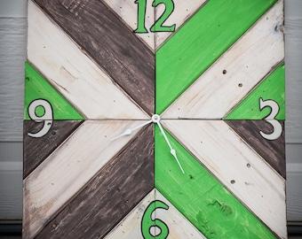 Green and brown herringbone clock