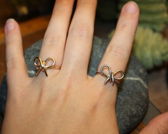 Wire Wrapped Bow Ring, Gold or Silver - Great Christmas Stocking Stuffer, Bridesmaids Gift, or Gift for Her