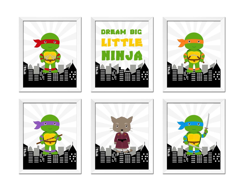 6x Tmnt Art Prints Teenage Mutant Ninja Turtles Wall Art