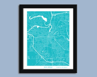 Ann Arbor map, Ann Arbor city map art, Ann Arbor wall art poster, Ann Arbor decorative map