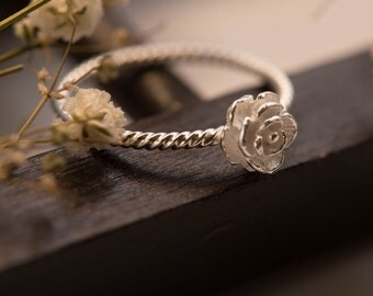 Sterling silver mini rose ring