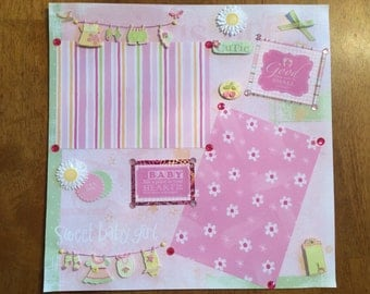 """12x12 Premade Scrapbook Page-""""Baby Girl"""""""