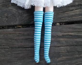 Blue Striped Over the Knee Socks