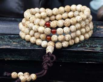 6mm  Natural Lotus Bodhi Seeds Beads108 Mala Beads Meditation Prayer Beads Japa Mala Buddha - Primary Color