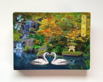 mixed media collage, waterfall, swans, butterflies, love, fall leaves