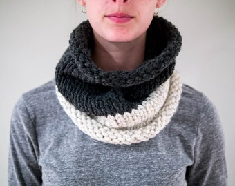 Chunky Knit Two Tone Cowl Neck Warmer / THE JESSICA / Charcoal & Wheat