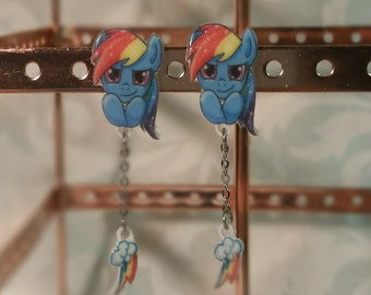 Rainbow Dash Earrings with dangling cutie mark