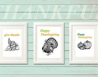 Set of 3 Thanksgiving printables - Black and white print, Thanksgiving decor, Cornucopia, Turkey, Pumpkins Thanksgiving gift, Free gift