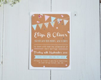 Country Bunting Wedding Invitations