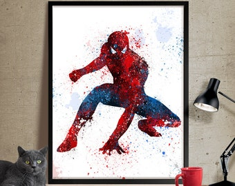 Spiderman Art Print, Watercolor Art, Superhero Wall Art, Spiderman Poster,Spiderman Birthday Poster Room Decor (62)