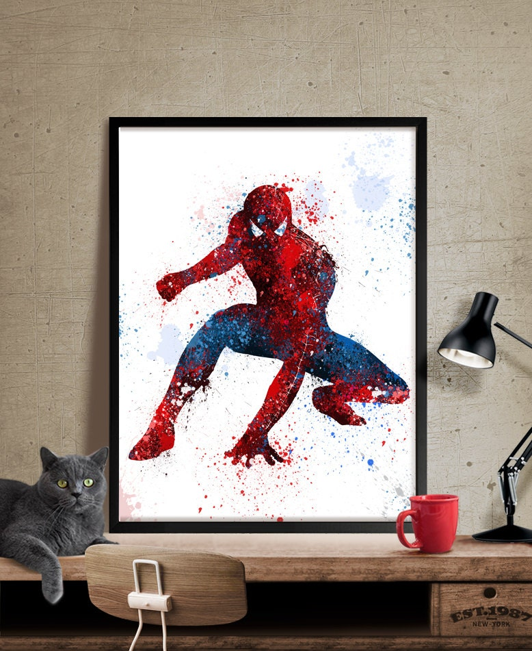 spiderman art print watercolor art superhero wall art. Black Bedroom Furniture Sets. Home Design Ideas