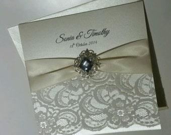 Handmade Square Folding 'Sonia' Wedding Invitation