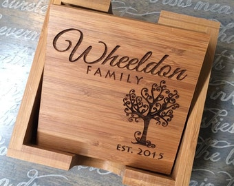 "Wedding Gifts for Couple, Wedding Gifts Personalized, Wedding Gift Ideas, Wedding Gift Last Name Establish ""Engraved Coasters, Set of 4"""