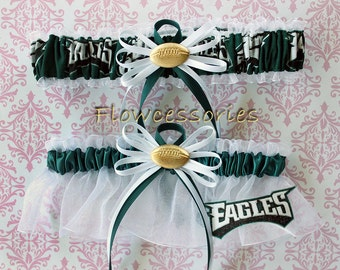 PHILADELPHIA EAGLES handmade football bridal garters - keepsake garter set