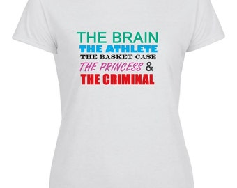 The Brain, The Athlete, The Basket Case, The Princess & The Criminal - Breakfast Club Printed White T-Shirt