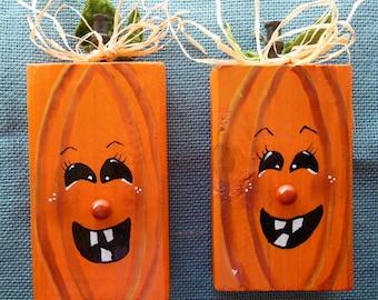 pumpkins, wooden 2 x 4 pumpkins, fall decorations, halloween decorations