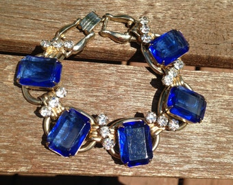 Juliana D&E Sapphire Blue and Clear Rhinestone Bracelet