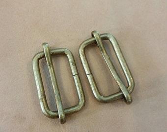 10 Pcs, 1 inch. (25 mm./2.5 cm.) (inner) Antique Brass Strap Slider, Strap Adjuster Slider, Bag & Purse Hardware.