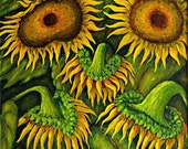 Oil painting Sunflowers Flowers Painting Original Art Painting Free Shipping