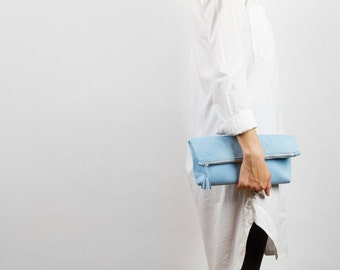 Light Blue Leather Clutch, Fold-Over Clutch, Blue Clutch, Large Leather Pouch, Blue Zippered Clutch, White Leather Lining, Evening Bag