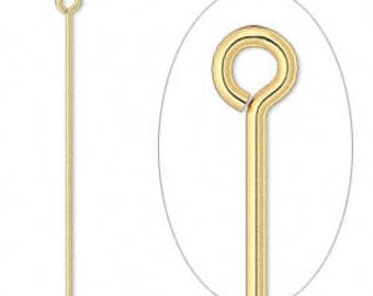 Gold Eye pin, gold-plated brass eye pins, 1-1/2 inches, 21 gauge eye pin, 50 each D404