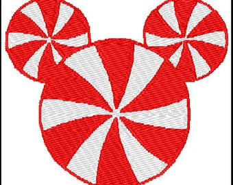 Mickey Mouse Peppermint Candy Embroidery Pattern Design