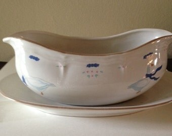 Country Goose Bowl and Saucer, JMP Stoneware