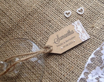 Rustic Wedding Place Card - lace and pearls on recycled kraft card