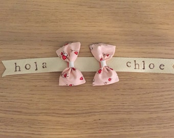 TOADSTOOLS mini hair bows-set of TWO