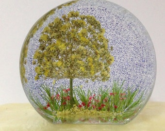 Beautiful Pressed Flower Paperweight - Baby's Breath Paperweight - Resin Paperweight - Real Flower Resin Art