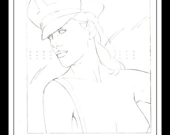 """Patrick Nagel Vintage Pinup Illustration Sexy Nude Pinup Mature Wall Art Deco Sketch Book Print 9"""" x 12"""""""