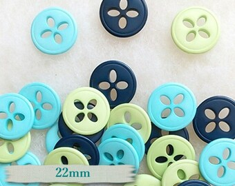 Buttons (6), 22mm, Style Fleur, Turquoise, navy, green,
